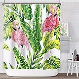 ANZOME Duschvorhänge Flamingo, Anti-Schimmel Duschvorhang Wasserdichter Bad Vorhang aus Waschbar Polyester Stoff mit 12 Duschvorhangringen 180x180 cm & Beschwertem Saum