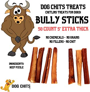 Dog Chits Bully Sticks | 50 Count | 5 inch | Thick | Odorless | All Natural | Grass-Fed | Great for Dogs and Puppies | Perfect for Aggressive Chewers | Fully Digestible | High Protein | Premium Grade