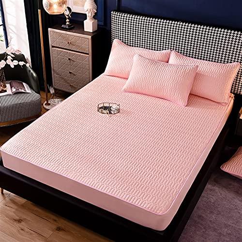 GZGLZDQ Funda De Protector De Colchón Acolchada Espesa Transpirable Impermeable Protector De Colchón Relleno De Fibra Funda De Colchón (Color : Pink, Tamaño : 90x200cm)