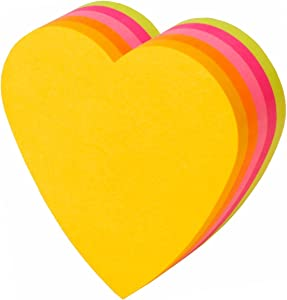 3M Post-it and sticky notes Heart 72x72mm fluorescent color five-color 225 sheets CC-31