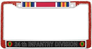 Crystals Metal License Plate Frame US Army 24th Infantry Division License Plate Frame Gilter Red,US Army World War 2 Crystal Bling Metal Chrome License Plate Frame for US Vehicles