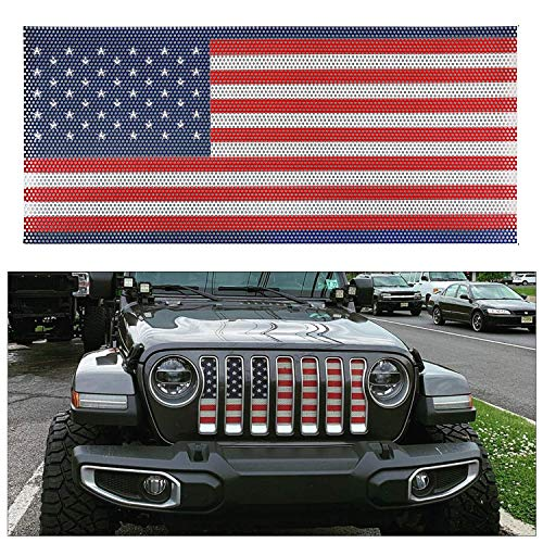 L&U Griglia Anteriore Inserto grigliato Schermo griglia USA Bandiera deflettore per 2018 2019 Jeep Wrangler JL JLU,Colourful