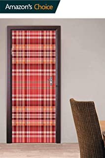 Door Mural Wall Sticker, White Lines and Cells Door Stickers Bubble Free Version, Semi-Glossy, Self Adhesive Peel & Stick Door Wrap, 30.3W x 78.7H Inches
