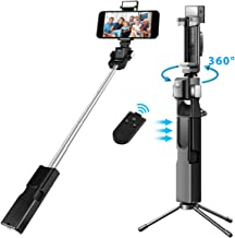 Electron Beast Remote Infrared Control 360°Electric Rotation Selfie Stick Bluetooth, Extendable Selfie Stick with Wireless Remote, Tripod Stand and Fill Light for iPhone Galaxy GoPro Cameras & Android