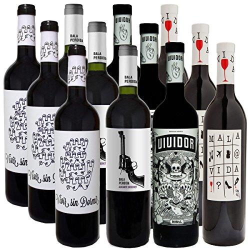 Weinpaket VERRÜCKTE WEINE | Bodegas Arráez | Vividor, Bala Perdida, Mala Vida, Vivir Sin Dormir | Trockene Rotweine aus Spanien | Probierpaket mit 12 Flaschen
