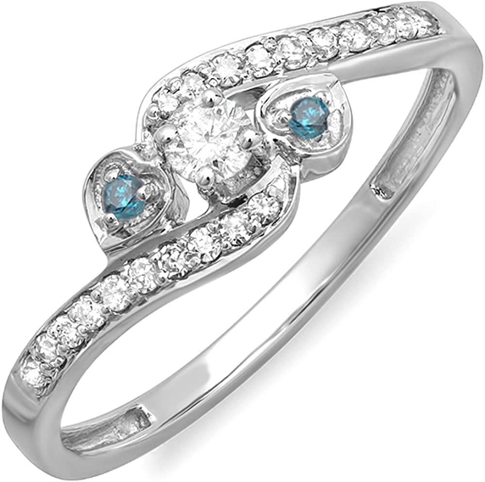 Dazzlingrock Collection 0.25 Carat (ctw) 14k Blue and White Diamond Bridal Promise Heart 3 Stone Swirl Ring 1/4 CT, White Gold
