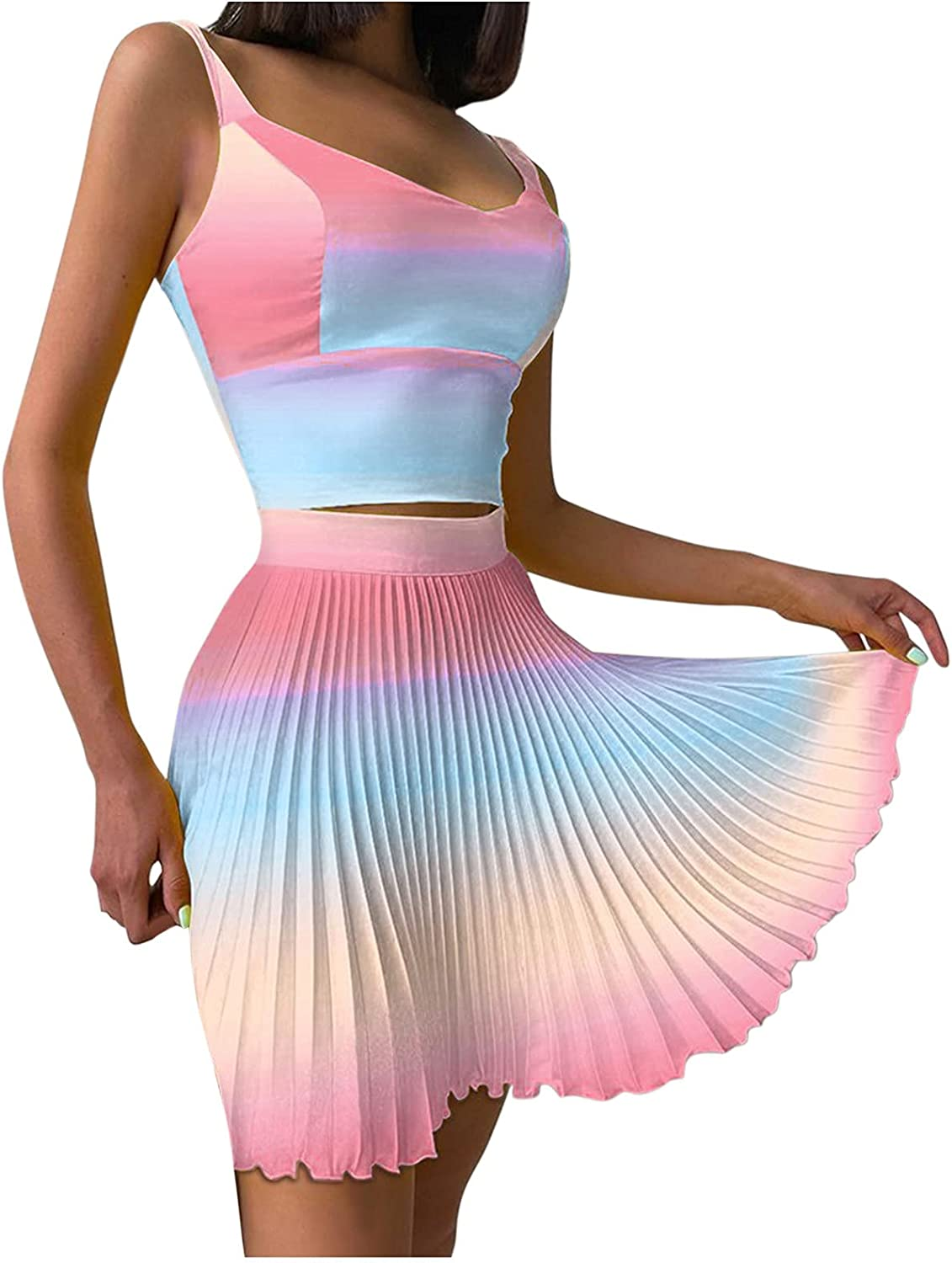 Women Two Piece Skirt and Top Set Print Sleeveless Casual Sexy Cami and Pleated Skirts Matching 2 Piece Outfits Track Suit