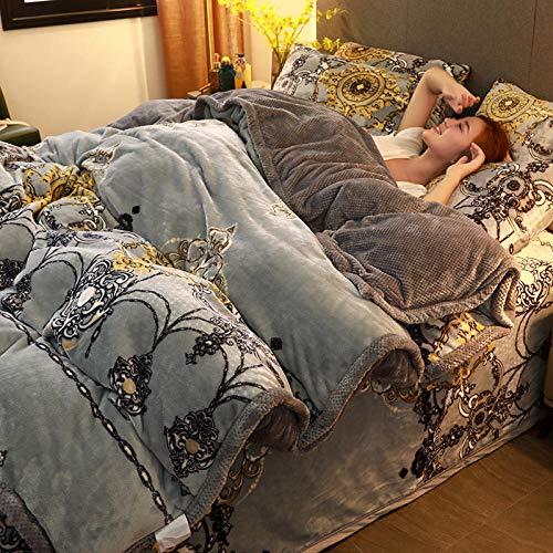 Bedding-LZ Juegos de sábanas 160x200 Verano-Manta de Franela de Invierno, Funda nórdica, Funda de Cama de Terciopelo de Leche de Doble Cara, Funda de Almohada, Regalo-V_Colcha de 1,5 m (4 Piezas)