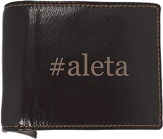 #aleta - Soft Hashtag Cowhide Genuine Engraved Bifold Leather Wallet