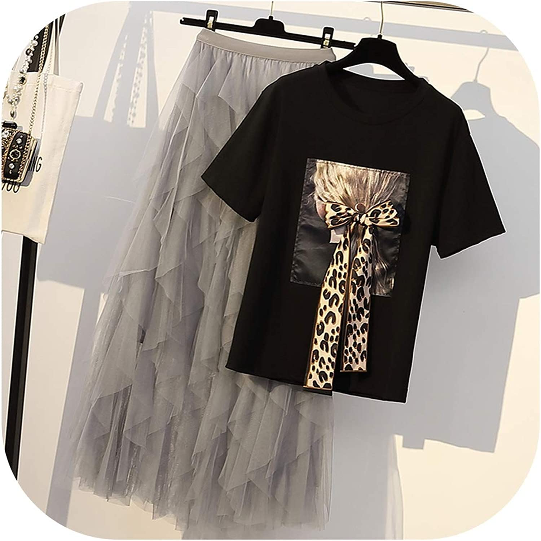 Enjoypeak TwoPiece Cake Skirt Suit Women Plus Size Dress Set Summer Girls Students Bow Tshirt+Long Gauze