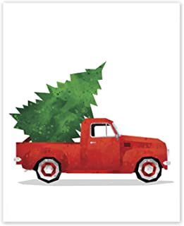 AtoZStudio Christmas Truck Print // Red Truck and Christmas Tree Wall Art // Picup Christmas Decor Poster // Vintage Red Christmas Truck // Card (8x10, Christmas Truck)