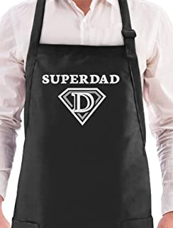 Super Dad Father's Day/Xmas Gifts - Super Hero Shield Dad Husband BBQ Chef Apron One Size Black