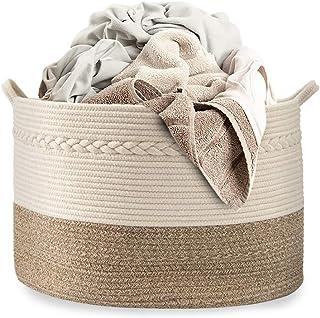 Cotton Coming Grand Panier de Rangement en Corde de Coton tressée Naturelle,idéal pour Ranger Le Linge, Les Jouets,Les vêt...