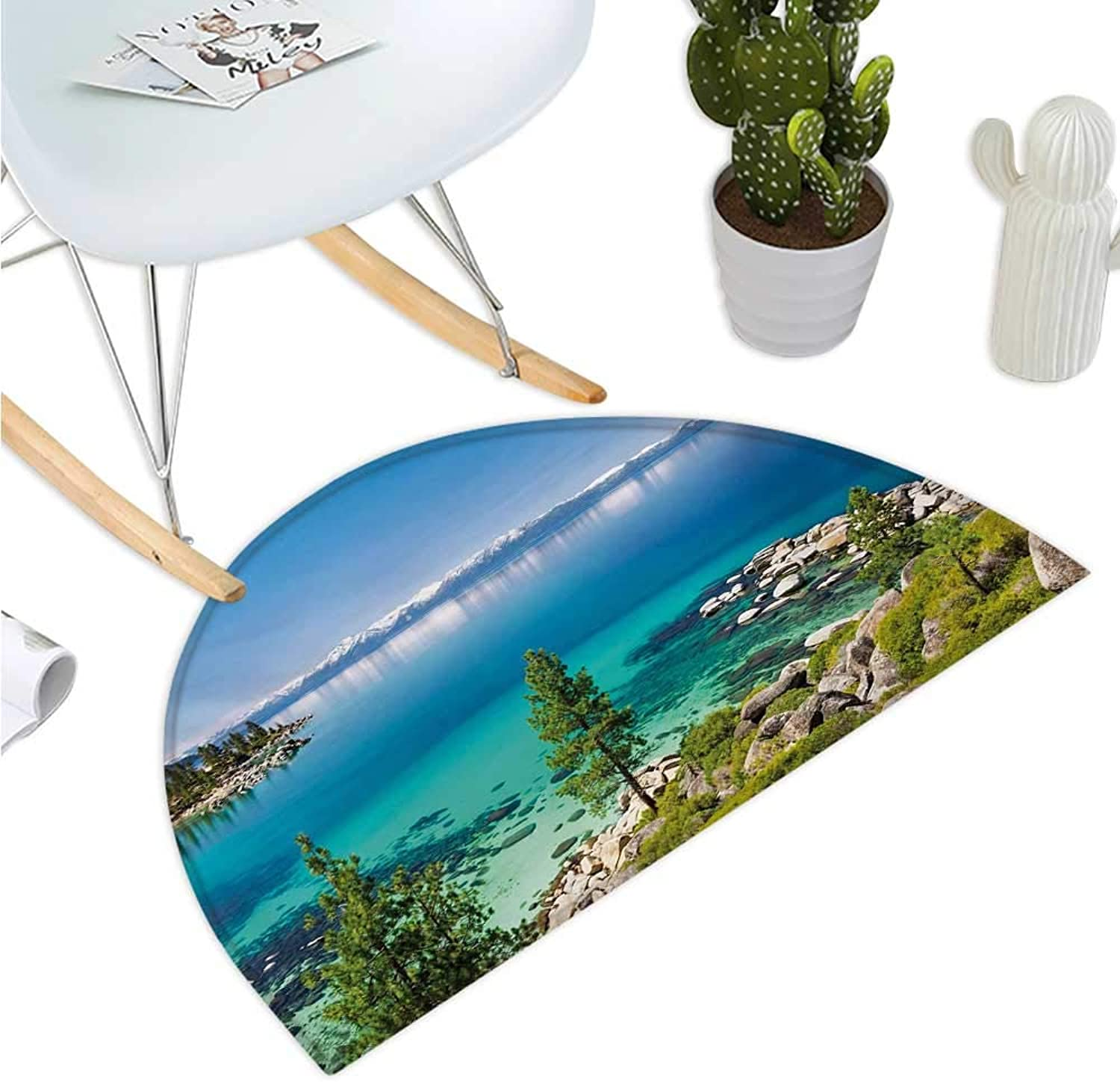 bluee Semicircular Cushion Tranquil View of Lake Tahoe Sierra Pines on Rocks with Turquoise Waters Shoreline Halfmoon doormats H 39.3  xD 59  bluee Grey Green