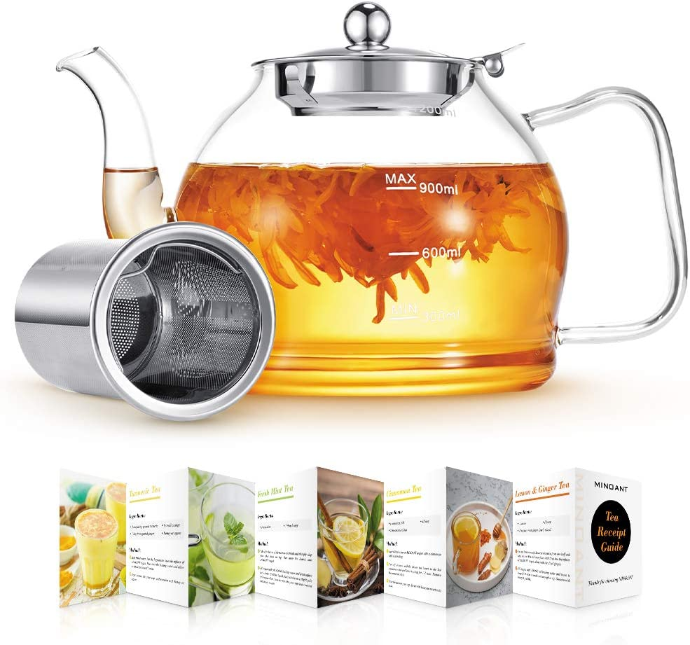 Glass Teapot, Glass Teapot with Removable Infuser, 40 oz Clear T