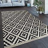 Paco Home Tessuto A Mano Trendy Tappeto Moderno Design Marocchino Frange in Nero Bianco, Dimensione:80x150 cm