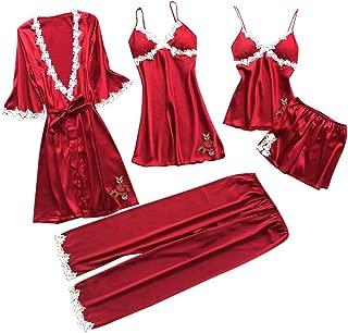 Women 5PC Sexy Lace Lingerie Sets,Printed Nightwear Ladies Underwear Babydoll Sleepwear Exotic Dress