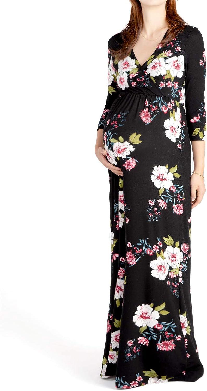 Beachcoco Maternity Women's VNeck 3 4 Sleeve Nursing Maxi Dress Made in USA