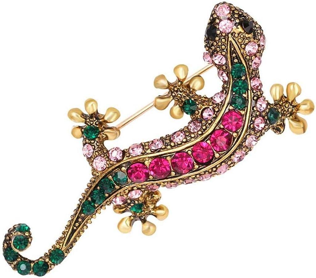 GLOA Brooch Pin,Unisex Rhinestone Lizard Gecko Animal Creeper Corsage Jewelry Gift - AG039-A