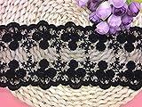 10 cm de ancho Europa corona boda margarita bordado encaje bordado, cortina mantel cubierta nupcial DIY ropa/accesorios. (2 yardas en un paquete) (negro)