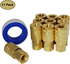 Toolsland Air Coupler Tool Fittings, 1/4-Inch NPT Female Quick Connect Air Coupler, Industrial M Style Coupler and Thread Seal Tape, Brass Finish, 11-Piece