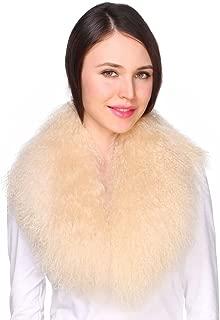 Ladies Genuine Luxury Mongolian Lambswool Fur Womens Collar Scarf for Outwear Coat