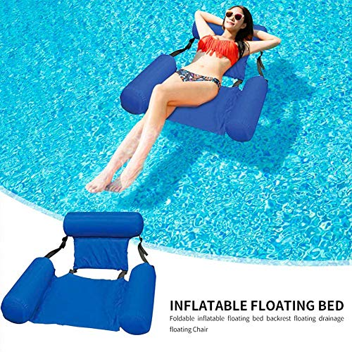 Hieefi Inflatable Water Hammock, Floating Recliner Lounge Summer Foldable Floating Sofa Chair Swimming Pool Beach Float Lounger Chair for Outdoor
