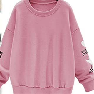 Honghu Casual Manga Larga Cuello Redondo Encapuchado Sudadera para Mujer Ocio Largo Sweatshirts