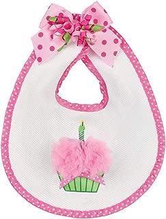 Bearington Baby Her 1st Birthday Outfit Bib with Cupcake, 10 x 11
