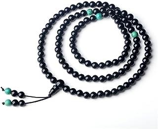 COAI Collana con Perle in Onice e Turchese, Rosario Tibetano Unisex