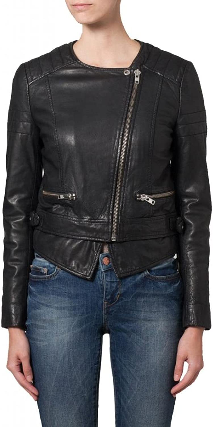 Leather Women's Lambskin Leather Bomber Biker Jacket W067