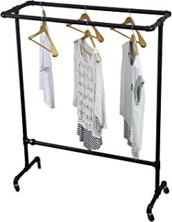 MBQQ Industrial Pipe Double Rail Clothing Rack,Heavy Duty Clothes Racks,Vintage Standing Rolling Clothes Rack Portable,Black Garment Rack Display Rack for Hanging Clothes