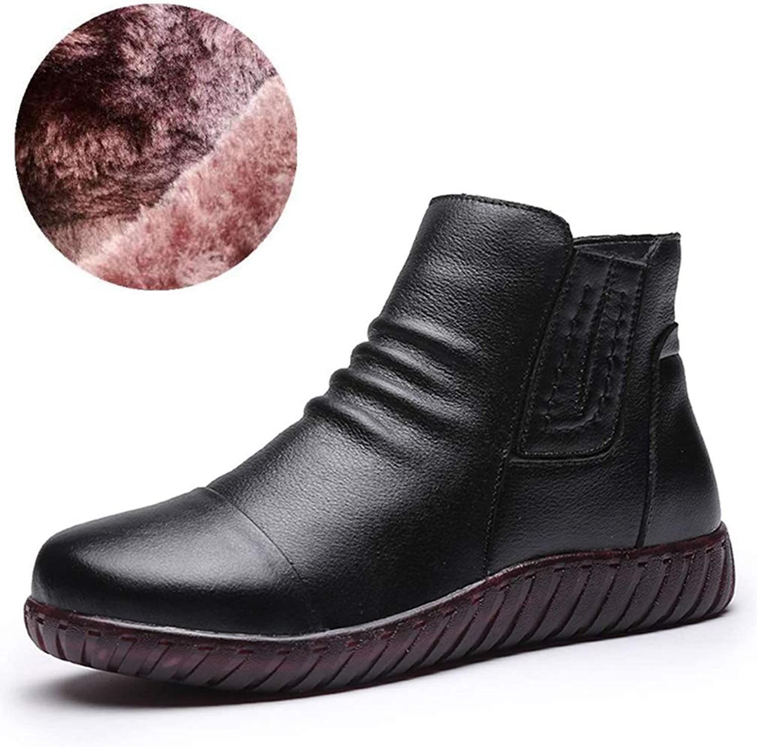 Hoxekle Winter Snow Boots Women Faux Leather Thick Plush Ankle Boots for Women Warm shoes Female Cotton Boots
