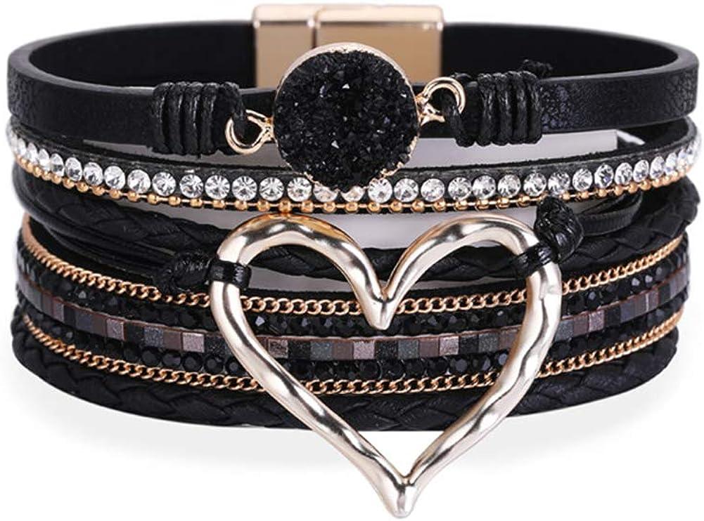 Women Leather Wrap Cuff Multi-Layer Beaded Cross Bracelets Modern Boho Bracelet