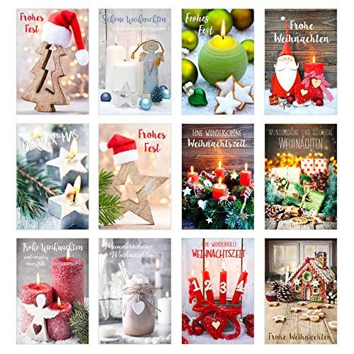 Edition Seidel Set 12 exklusive Premium Weihnachtskarten mit Umschlag. Doppelkarten/Klappkarten mit Briefumschlag. Weihnachten Karte Postkarte Weihnachtspostkarte