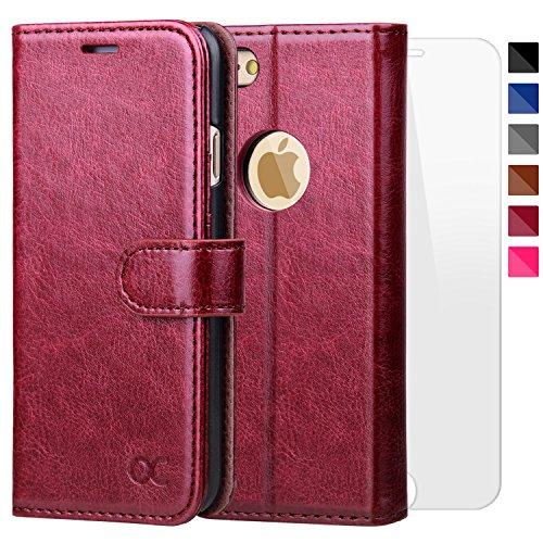 OCASE iPhone 6 Hülle Handyhülle iPhone 6S [ Gratis Panzerglas Schutzfolie ] [Premium Leder] [Standfunktion] [Kartenfach] [Magnetverschluss] Schlanke Leder Brieftasche für Apple iPhone 6/6S Burgundy