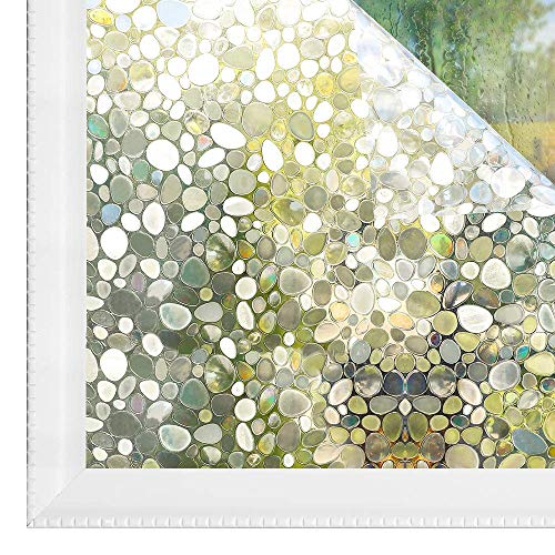 LMKJ Película de Ventana de privacidad Opaca 3D Guijarro Transparente Transparente película de Ventana de Vidrio de Color estático Vidrio Autoadhesivo A52 50x200cm