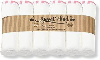 SWEET CHILD Premium 100% Bamboo Washcloth Set (6 Pack)