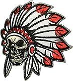 Skull Indian chief biker heavy metal Horror Goth Punk Emo Rock DIY Logo Jacket Vest shirt hat blanket backpack T shirt Patches Embroidered Appliques Symbol Badge Cloth Sign Costume Gift 8x 9.5cm