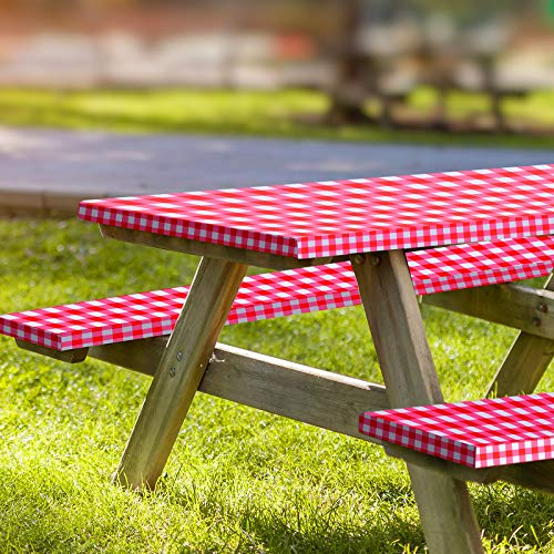 Ruisita 3 Pieces 72 Inches Vinyl Picnic Table and Bench Fitted Tablecloth Cover Picnic Table and Bench Fitted Tablecloth for Picnics Indoor and Outdoor Dining Red and White