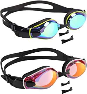 Aegend 2 Pack Swim Goggles, Flat Lens Swimming Goggles with 3 Adjustable Nose Pieces, No Leaking Anti-Fog UV Protection Swim Goggle for Adult Men Women Youth Kids Child, 6 Colors