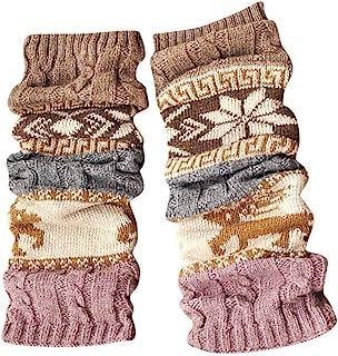 FAMILIZO Calcetines, Invierno Caliente Piernas Calentadores Cable Punto Crochet Punto Alto Calcetines Largos Leggings Tobilleros Antideslizantes