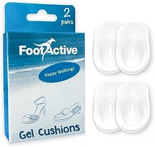 FootActive - Almohadillas de gel para los talones que mejoran la comodidad al caminar, previenen y alivian el dolor en el talón y amortiguan las pisadas