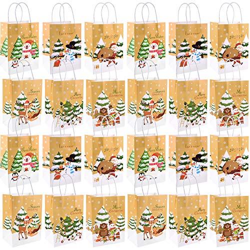 FEPITO 24Pcs Bolsas regalo Navidad Bolsas regalo papel