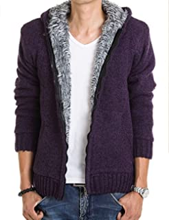 Zhhlinyuan Hooded Coat Men Warm Winter Cardigan Sweater Jacket Casual Wear - Pure Color Knitted Overcoat Thick and Soft
