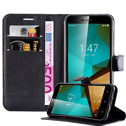 Cadorabo Hülle für Vodafone Smart Prime 7 - Hülle in Phantom SCHWARZ – Handyhülle mit Kartenfach & Standfunktion - Case Cover Schutzhülle Etui Tasche Book Klapp Style
