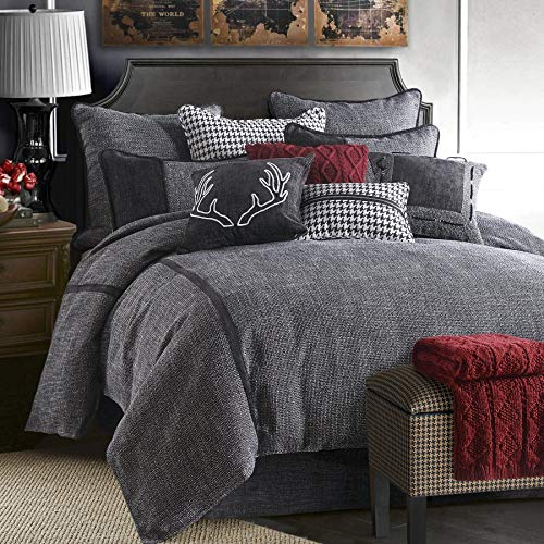 HiEnd Accents Hamilton Lodge Woven Cotton Comforter Set, Super King, Charcoal Gray 4 PC