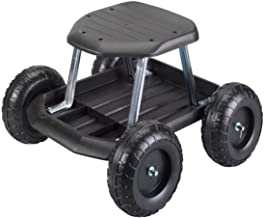 Fox Valley Traders Rolling Garden Cart Scooter with Seat and Utility Tool Storage Tray, Black