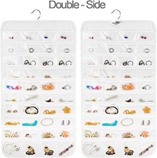 Earring Organizer, Dual-Sided 80-Pocket Hanging Jewelry Organizer Storage Displace Necklace Earring Ring Pouch Pocket, Accessories Organizer Closet Wall Holder, Transparent, White, Hanger Included
