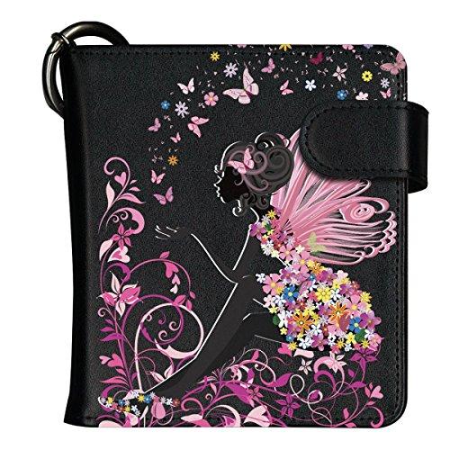 iQOS アイコス 専用 手帳型 デザイン ケース 蝶と妖精 柄 全部収納 カバー 黒ケース